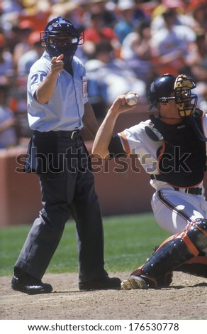 Close-up of umpire and pitcher during professional Baseball game, Dodger Stadium, Los Angeles, CA - stock photo