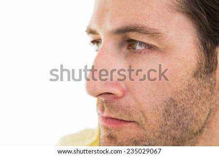 Close up of unsmiling man on white background