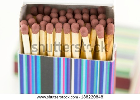 Close up of unused matches with brown head screw in the box on white background  - stock photo