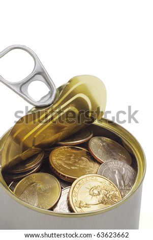 Close up of US coins in open tin can