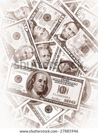Close up of US dollars