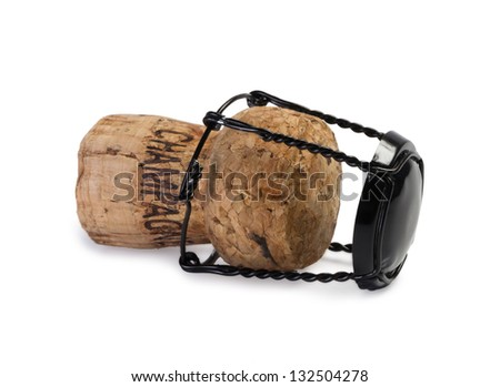 Close-up of used Champagne Cork, isolated on white - stock photo