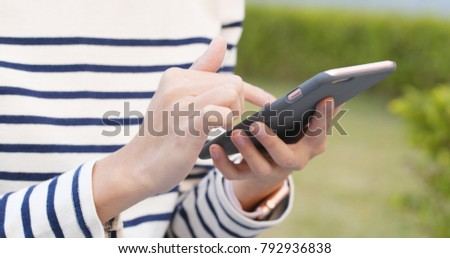 Close up of using cellphone