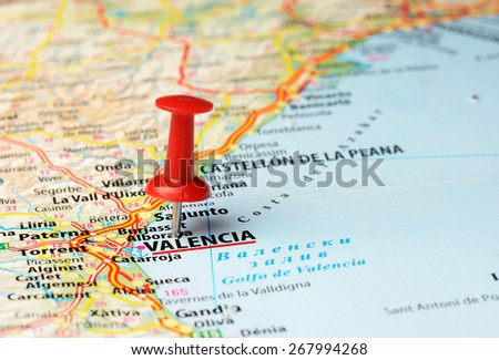 Close up of   Valencia , Spain  map with red pin - stock photo