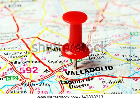 Close up of Valladolid  ,Spain map with red pin - Travel concept