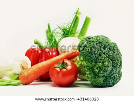 Close up of various colorful raw healthy untreated genuine vegetables