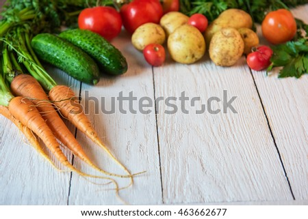 Close up of various freshly grown raw vegetables