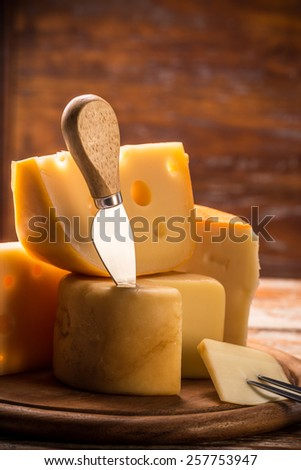 Close up of various types of cheese