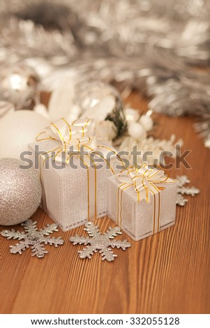 Close up of various white Christmas decorations, shallow depth of field