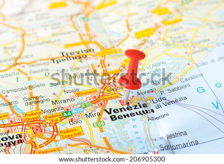 Close up of  Venice , Italy map with red pin    - Travel concept - stock photo