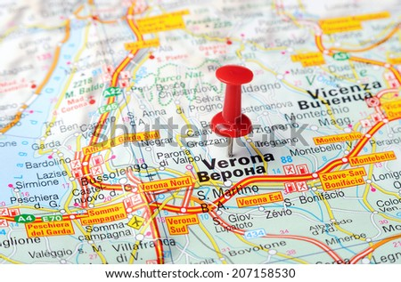 Close up of  Verona  , Italy map with red pin    - Travel concept - stock photo
