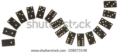 Close up of very old domino on a white background - stock photo