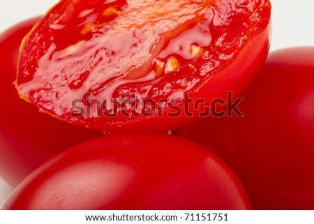 Close up of Vibrant italian plum tomatoes from low perspective.