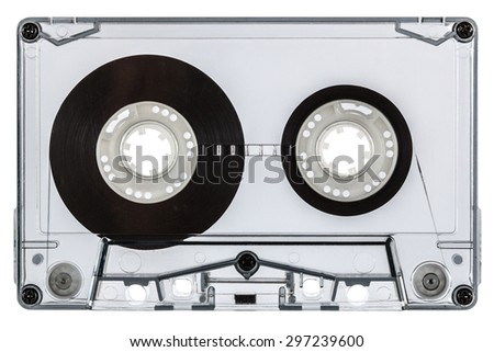 Close up of vintage audio cassette, isolated on white background - stock photo