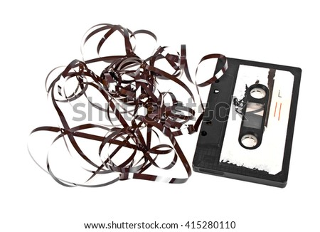 Close up of vintage audio tape cassette isolated on a white background