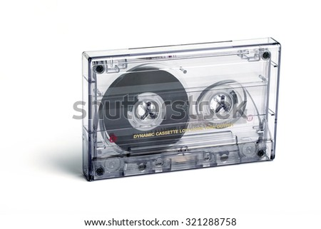 close up of vintage audio tape cassette isolated on white - stock photo