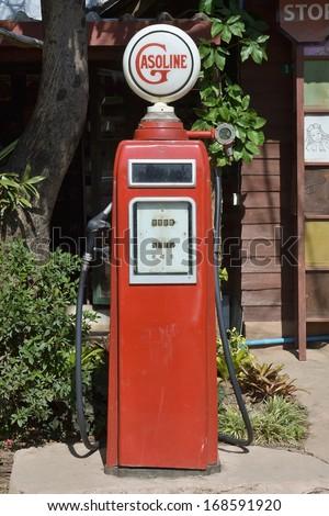 close up of vintage fuel dispenser - stock photo