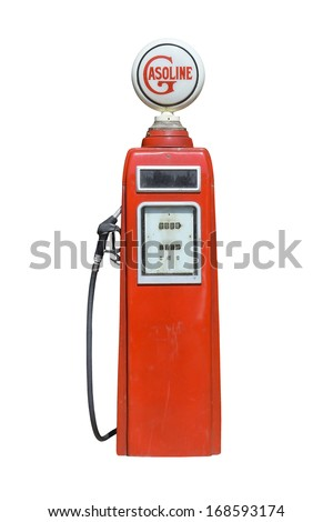 close up of vintage fuel dispenser - stock photo