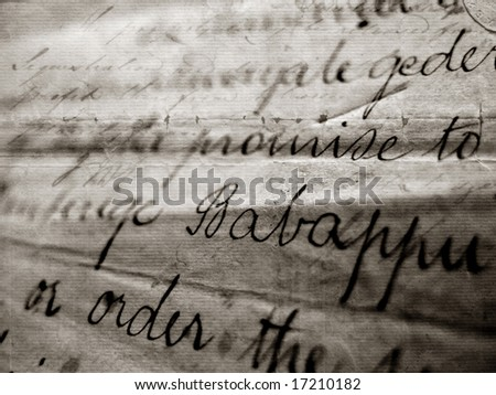 Close up of vintage handwriting