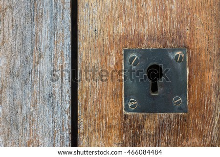 Close up of Vintage keyhole on old wooden door