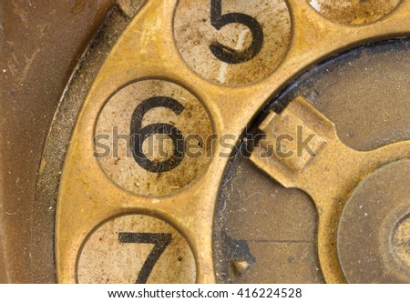 Close up of Vintage phone dial, dirty and scratched - 6 - stock photo