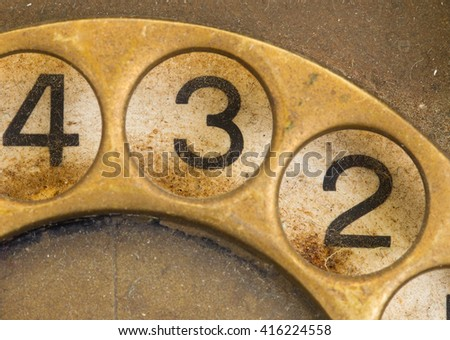 Close up of Vintage phone dial, dirty and scratched - 3 - stock photo