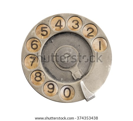 Close up of Vintage phone dial on white, silver - stock photo