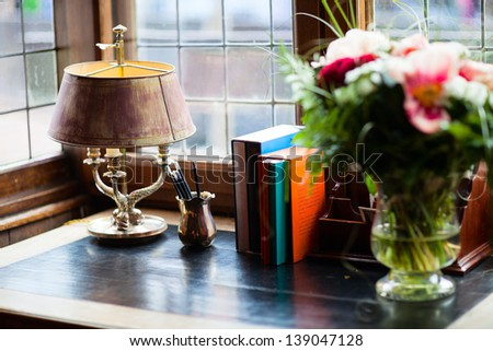 Close up of vintage style lamp in interior decoration - stock photo