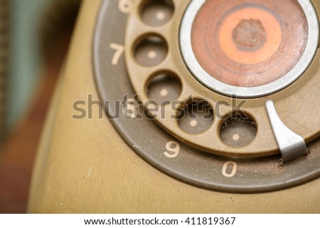 close up of vintage telephone dial.