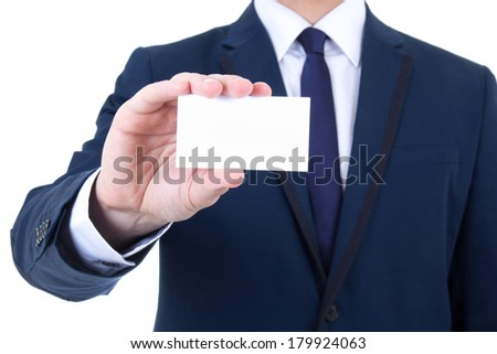 close up of visiting card in male hand isolated on white background