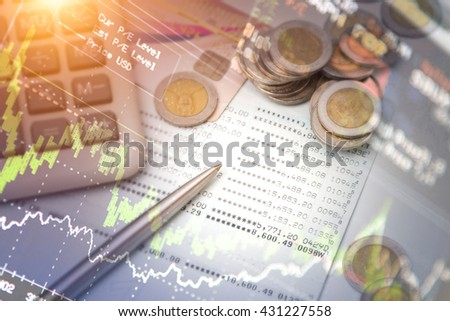 Close up of votive chart concept of financial investment. - stock photo
