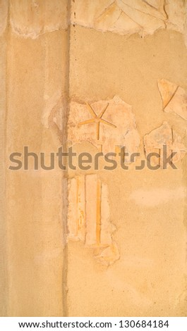 Close up of wall fragment at Mortuary Temple of Queen Hatshepsut at Deir el Bahri. Luxor, Egypt - stock photo