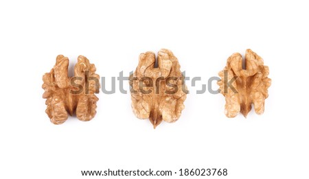 Close up of walnut kernels. Isolated on a white background.