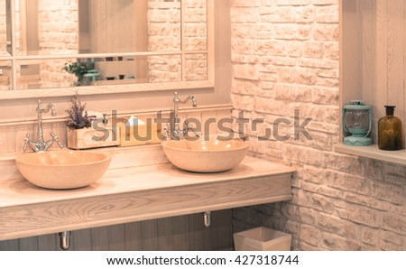 Close-up of washbasins in public toilet room,vintage effect style pictures - stock photo