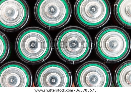 Close-up of waste batteries