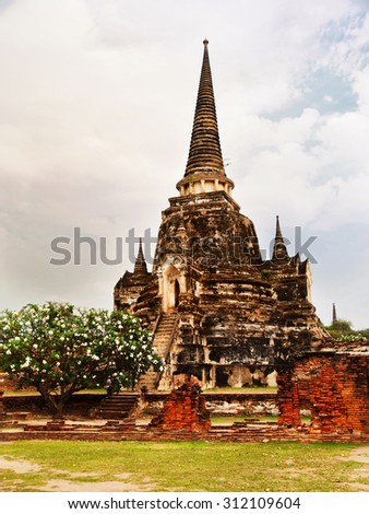 Close up of Wat Phra Si Sanphet, Ayuthaya, Thailand. Full length view.