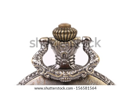 Close up of watch detail. Isolated on a white background. - stock photo