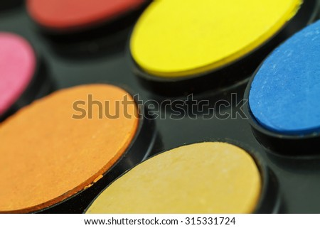 Close up of Water color paints - stock photo
