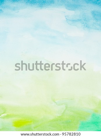 close up of  water color strokes painting on white background - stock photo