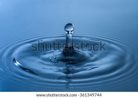 Close-up of water drop in blue color.