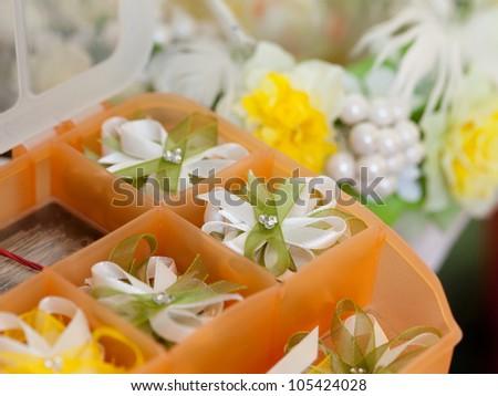 close up of wedding decoration ribbons - stock photo