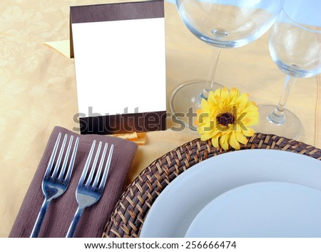 close up of wedding table set, space for your text on blank card
