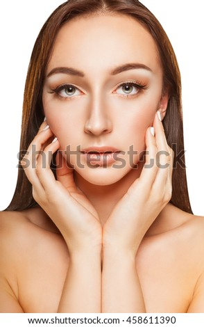 Close-up of well-groomed young woman isolated on white background