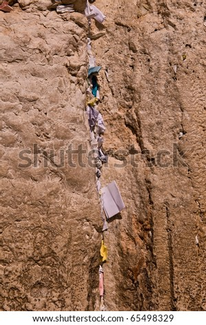 Close Up of Western Wailing Wall in Jerusalem, Israel . - stock photo