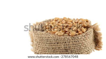close up of Wheat in small sack  - stock photo