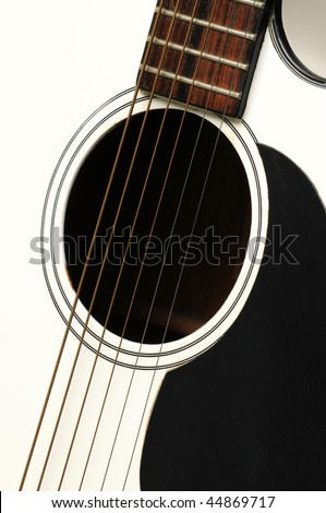 Close-up of white acoustic guitar for background use