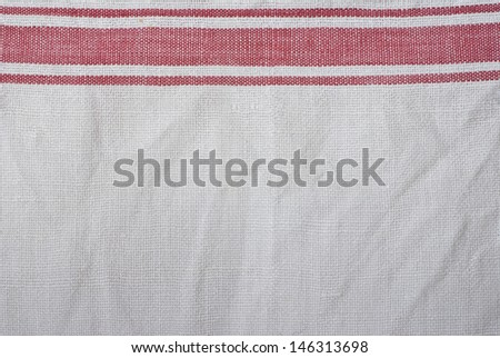 close up of white and red towel - textured background - stock photo