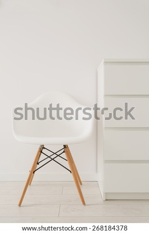 Close-up of white chair in modern design - stock photo