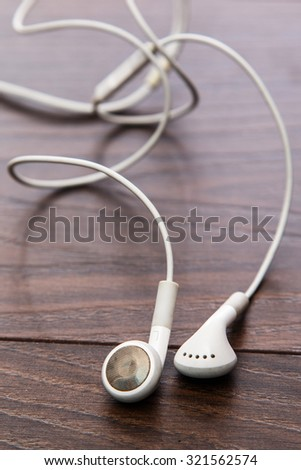 Close up of white earphones