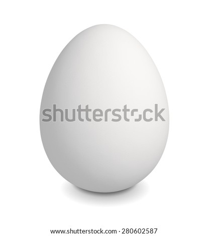 Close up of white egg, isolated on white background with clipping path